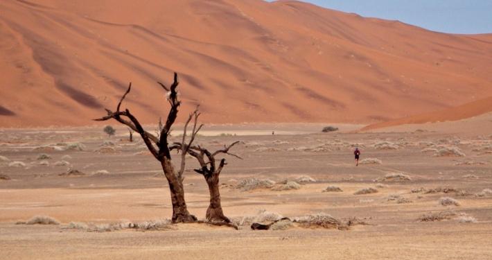 Alone running in the desert